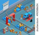 automotive overhead chain... | Shutterstock .eps vector #490588654
