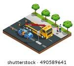 road accident isometric...   Shutterstock .eps vector #490589641