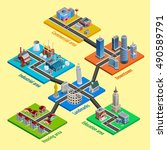 multilevel city concept with... | Shutterstock .eps vector #490589791
