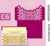 laser cut wedding invitation... | Shutterstock .eps vector #490592899