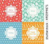 merry christmas and happy new... | Shutterstock .eps vector #490599871