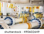 valve and pipe line in oil and... | Shutterstock . vector #490602649