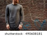 a cropped photo of a bearded... | Shutterstock . vector #490608181