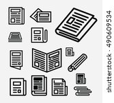 newspaper icon set. news vector.... | Shutterstock .eps vector #490609534