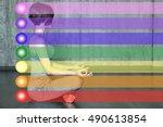 woman practicing meditation... | Shutterstock . vector #490613854