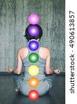 woman practicing meditation... | Shutterstock . vector #490613857