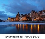 The riverside at dawn. Gdansk, Poland. - stock photo