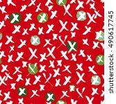 cross pattern christmas red... | Shutterstock .eps vector #490617745