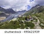 aletsch glacier ... | Shutterstock . vector #490621939
