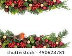 christmas decorative floral... | Shutterstock . vector #490623781