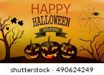 happy halloween card. smiling... | Shutterstock .eps vector #490624249