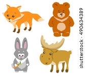cute forest animals cartoon... | Shutterstock .eps vector #490634389