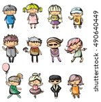 set of cute vector children.... | Shutterstock .eps vector #490640449