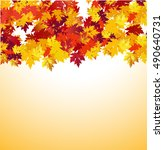 autumn background with maple... | Shutterstock .eps vector #490640731