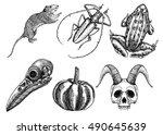 set for halloween. set of... | Shutterstock .eps vector #490645639