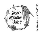 spooky halloween party sign and ... | Shutterstock .eps vector #490645915