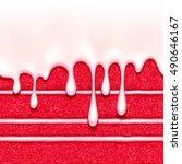 red velvet sponge cake with... | Shutterstock .eps vector #490646167