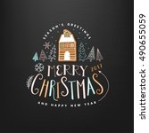 christmas greeting card. merry... | Shutterstock .eps vector #490655059