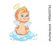 cute little baby angel sitting... | Shutterstock .eps vector #490655761
