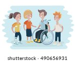 vector illustration of disabled ... | Shutterstock .eps vector #490656931