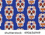 hand drawn mexican day of the... | Shutterstock .eps vector #490656949