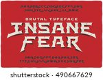 insane fear brutal font with... | Shutterstock .eps vector #490667629