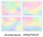 hologram wallpaper set.... | Shutterstock .eps vector #490670425