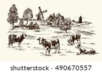 cows grazing on meadow. hand... | Shutterstock .eps vector #490670557