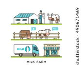 milk farm. delivery dairy... | Shutterstock .eps vector #490671469