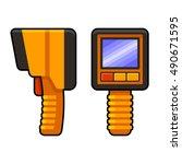 thermal imaging of underfloor... | Shutterstock .eps vector #490671595