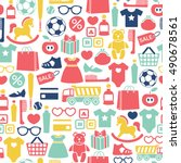 seamless pattern with kids... | Shutterstock .eps vector #490678561