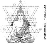 sitting buddha over sacred... | Shutterstock .eps vector #490680655