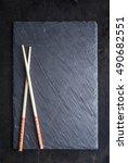 black sushi slate board with...   Shutterstock . vector #490682551