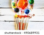 photo of paint brushes on... | Shutterstock . vector #490689931