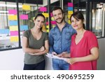 portrait of creative business... | Shutterstock . vector #490695259