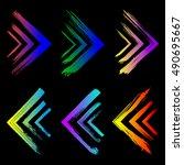 set of ink colorful grunge... | Shutterstock .eps vector #490695667