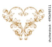 gold vintage baroque element... | Shutterstock .eps vector #490698511