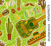 mexican fiesta party. seamless... | Shutterstock .eps vector #490699075
