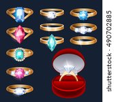 realistic rings with gemstones... | Shutterstock .eps vector #490702885