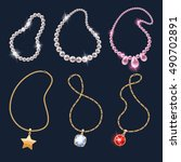 realistic necklaces jewelry... | Shutterstock .eps vector #490702891