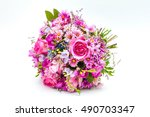 pink wedding bouquet isolated... | Shutterstock . vector #490703347