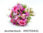 pink wedding bouquet isolated... | Shutterstock . vector #490703431