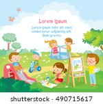 cute kids  playing and drawing... | Shutterstock .eps vector #490715617