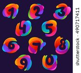 numbers set logos at colorful...   Shutterstock .eps vector #490717411