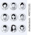 collection of 9 monochrome user ... | Shutterstock .eps vector #490721131