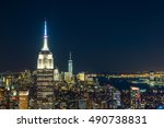 new york city with skyscrapers... | Shutterstock . vector #490738831