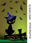 halloween banner with a pretty... | Shutterstock .eps vector #490739575