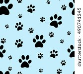 dog paw print seamless. traces... | Shutterstock .eps vector #490741345
