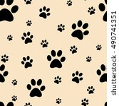 dog paw print seamless. traces... | Shutterstock .eps vector #490741351