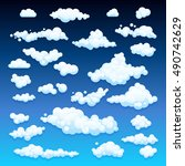 cartoon clouds. illustration on ... | Shutterstock .eps vector #490742629